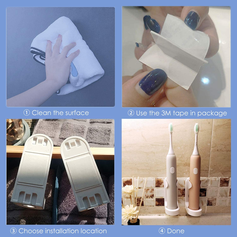 simpletome Selbstklebende Elektrischer Zahnb/ürstenhalter Zahnb/ürste Organizer 2 St/ück ABS Kunststoff