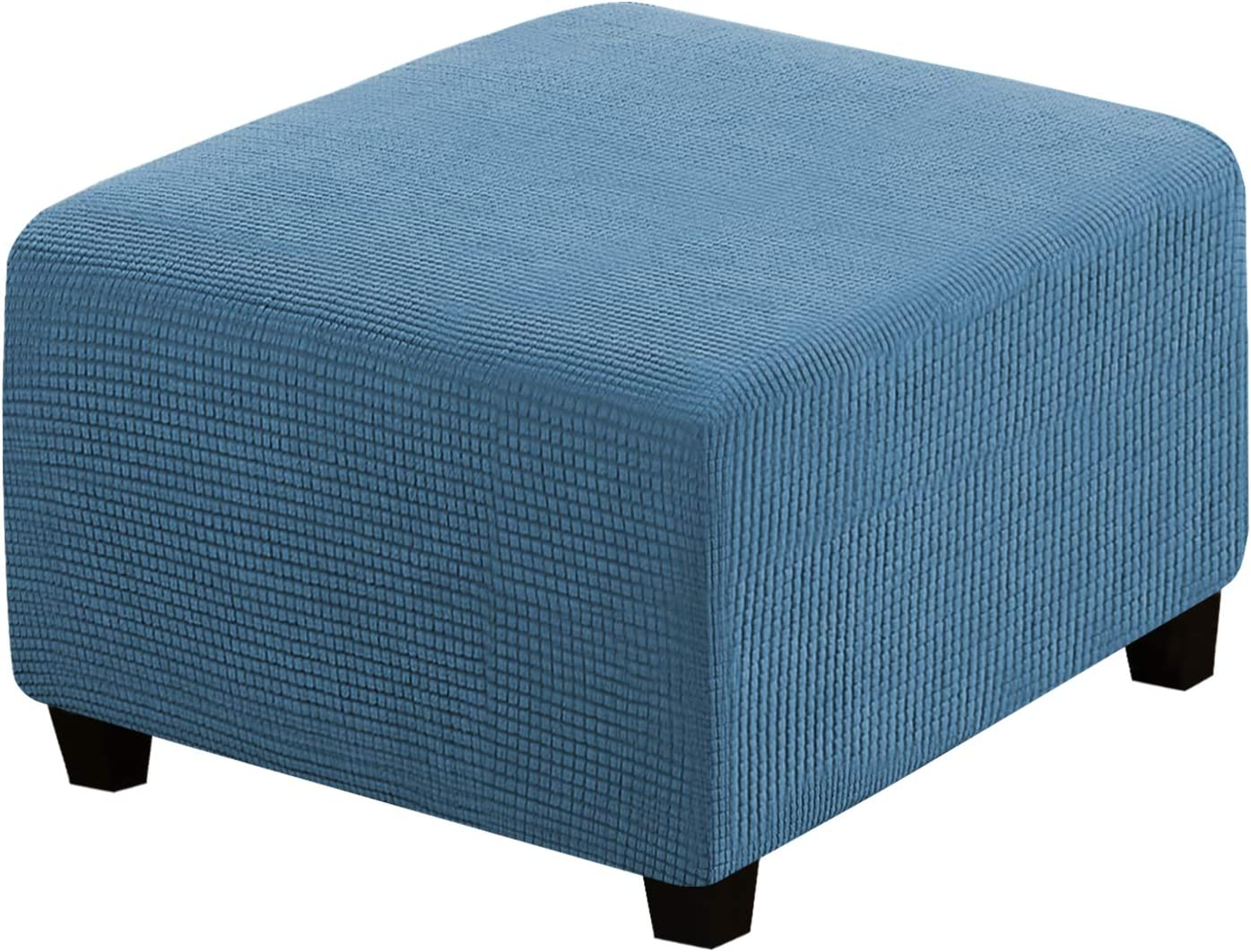 Square Ottoman Covers Ottoman Slipcovers Folding Storage Stool Furniture Protector Form Fit with Elastic Bottom, Stretch High Spandex Small Checks Jacquard Fabric, Dusty Blue