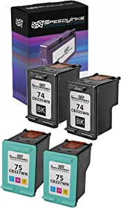 Speedy Inks Remanufactured Ink Cartridge Replacement for HP 74 and HP 75 (2 Black and 2 Color, 4-Pack)