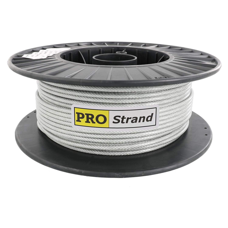Pro Strand 1/8'' X 200', Coated to 3/16'' Diameter, 7x19, Vinyl Coated Galvanized Cable Reel
