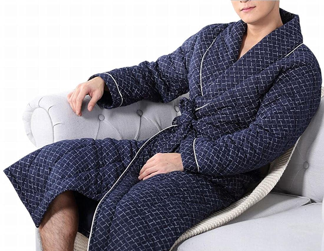 13 GAGA Women's Casual Quilted Thick Print Lapel Pockets Homewear Robe