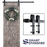 """SMARTSTANDARD 5ft Heavy Duty Sturdy Sliding Barn Door Hardware Kit -Smoothly and Quietly -Easy to Install -Includes Step-by-Step Installation Instruction Fit 30"""" Wide Door Panel (J Shape Hanger)"""