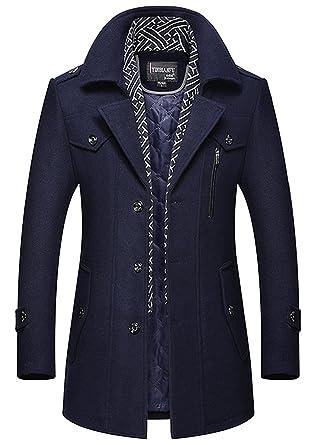 photos officielles 92948 1bd0b Homme élégant Laine Hiver Chaud Manteau Parka Veste en Fourrure Trench Coat  Slim Fit Casual Coat