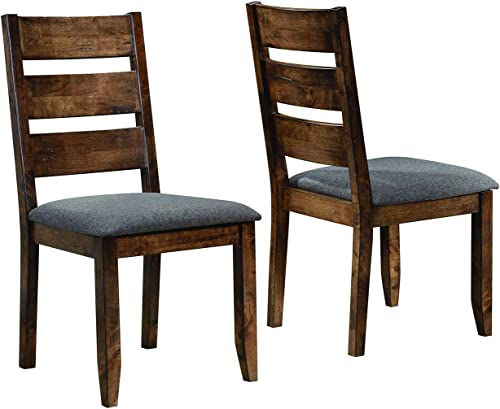 Alston Ladderback Dining Side Chairs Knotty Nutmeg and Grey Set of 2