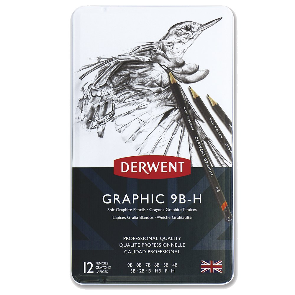 Derwent Graphic Soft Graphite Pencils, 9 B H   Set Of 12 by Amazon