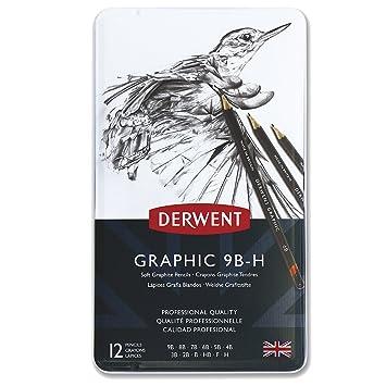 Derwent Graphic - Lápices de grafito blandos (12 unidades, 9B-H, en estuche de metal), color negro: Amazon.es: Oficina y papelería