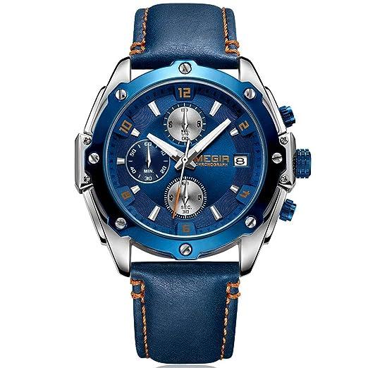 4ad870f89b Megir Sports Montre chronographe pour Homme avec Bracelet Cuir Bleu Marine  Marron numéros étanche Montre-