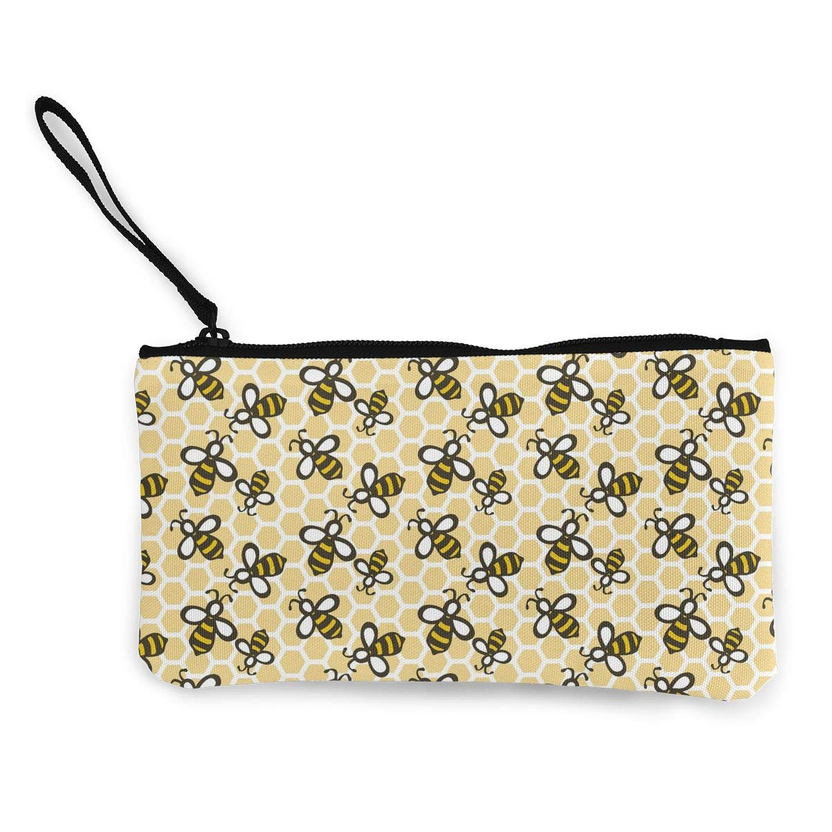 Honey Bees Zipper Canvas Coin Purse Wallet Make Up Bag,Cellphone Bag With Handle