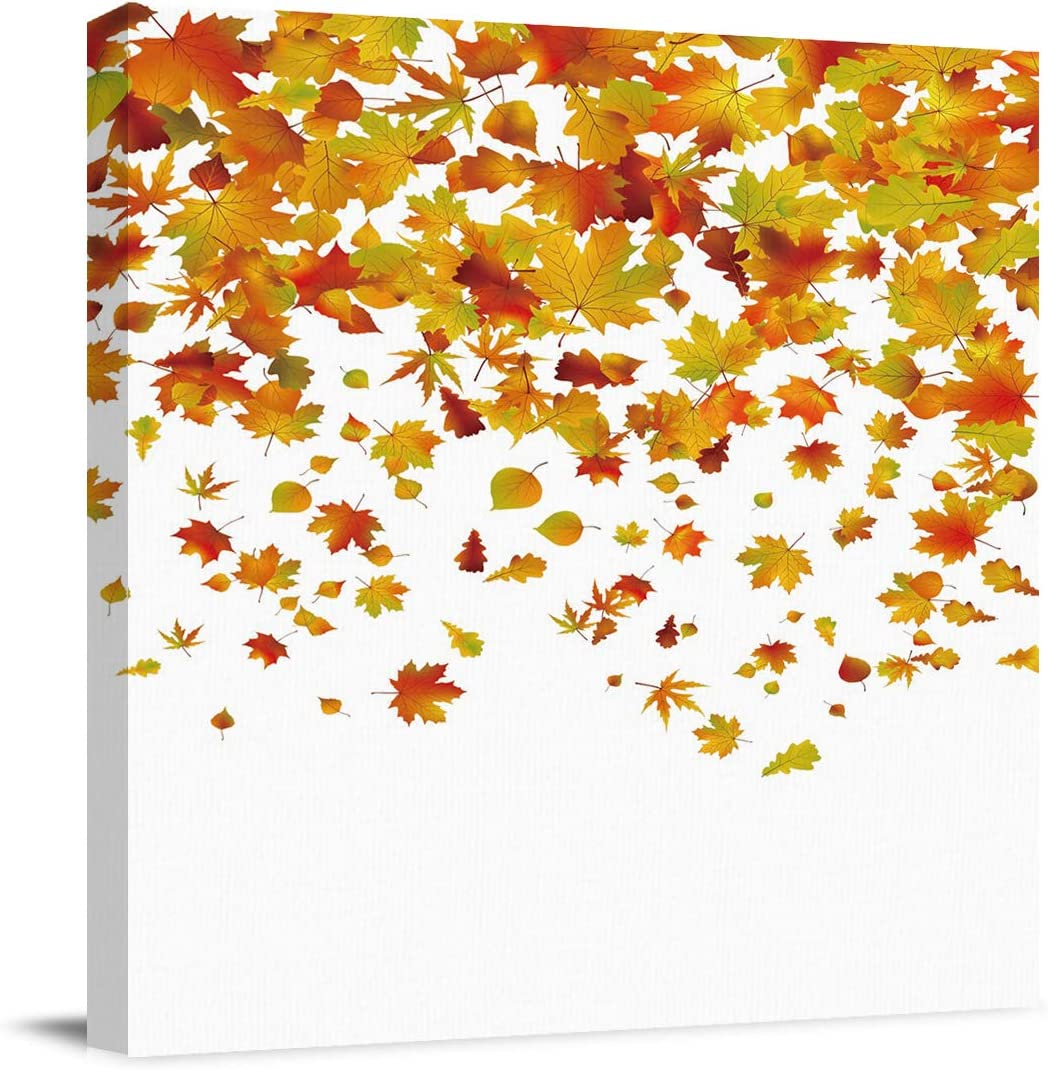 Canvas Wall Art Thanksgiving Day Romantic Autumn The Fall of Maple Leaves Picture Modern Artwork Printed on Canvas - Oil Painting for Wall Decor - Stretched and Framed Ready to Hang(12