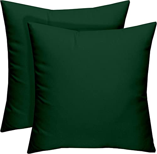 Resort Spa Home Decor Set of 2 – Indoor Outdoor Square Decorative Throw Toss Pillows – Solid Hunter Forest Green – Choose Size 24 x 24