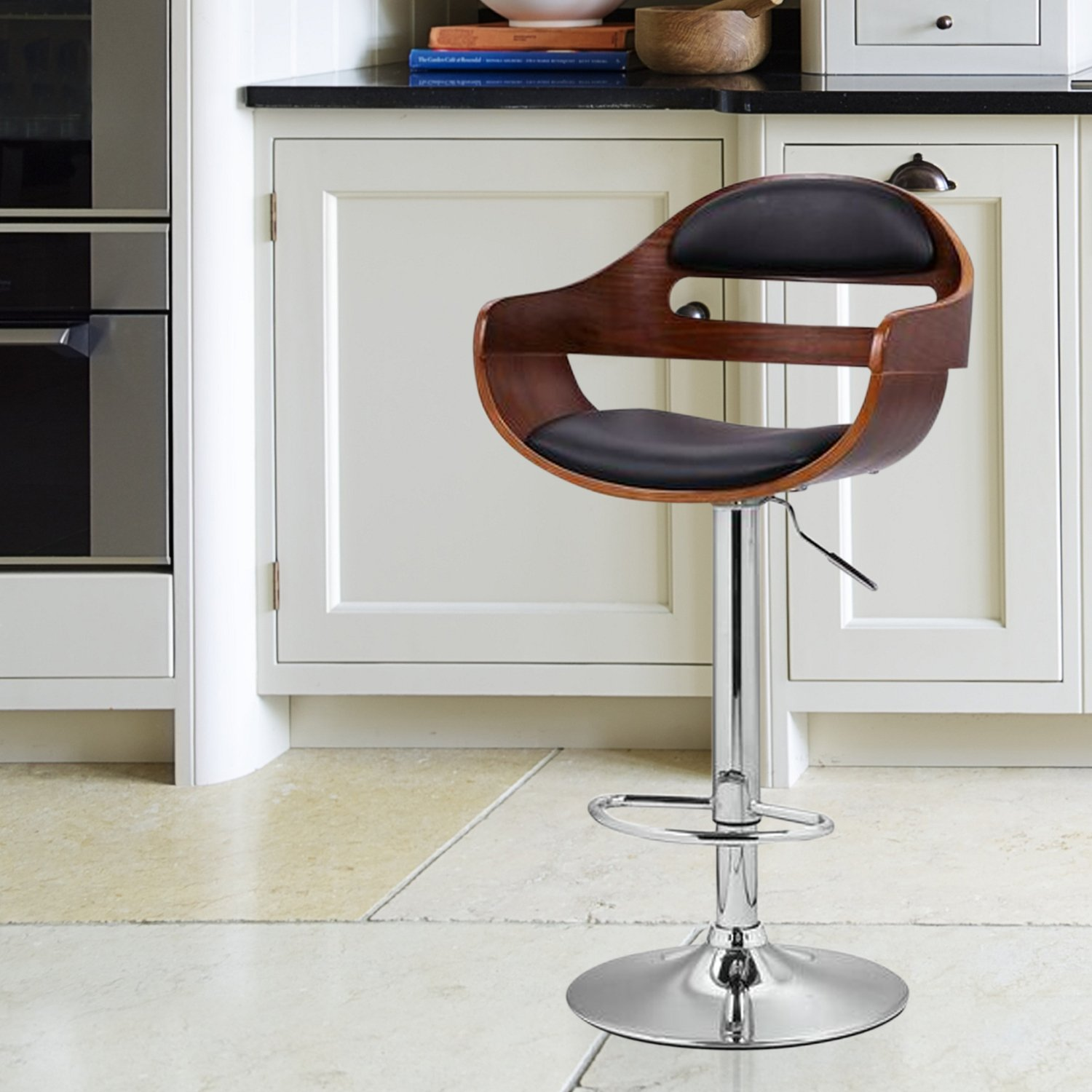 Amazon.com Joveco 360 Degree Swivel Adjustable Modern Leather Wood Bar Counter Stool Kitchen u0026 Dining & Amazon.com: Joveco 360 Degree Swivel Adjustable Modern Leather ... islam-shia.org