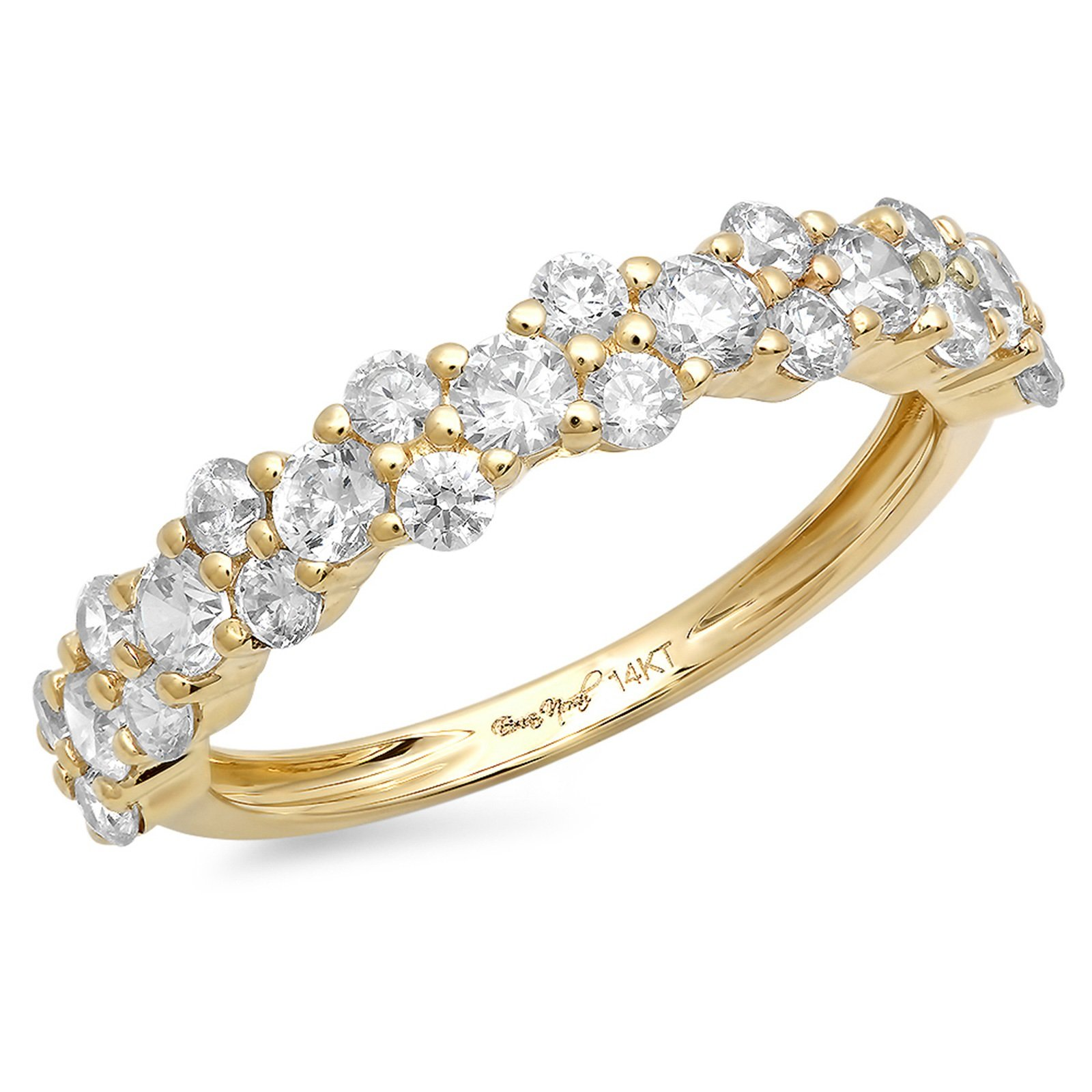 1 Ct Cluster Round Cut Unisex Pave Engagement Wedding Bridal Anniversary Ring Band 14K Yellow Gold, Size 10, Clara Pucci
