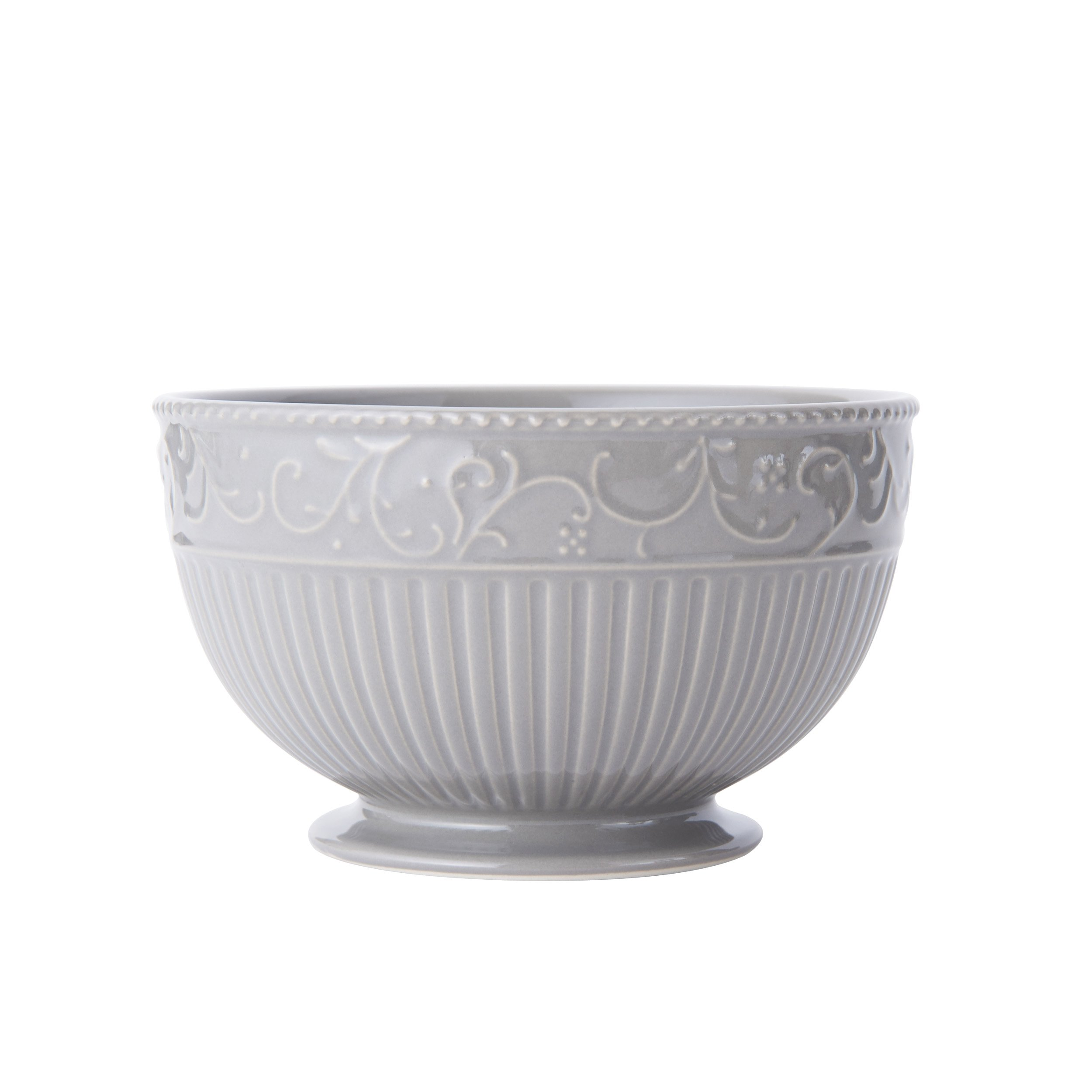 Mikasa Italian Countryside Accents Footed Soup/Cereal Bowl, Scroll Grey