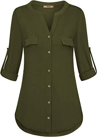 Miusey Womens Henley V Neck 3/4 Roll-Up Sleeve Tunic Blouse Button Down Shirt