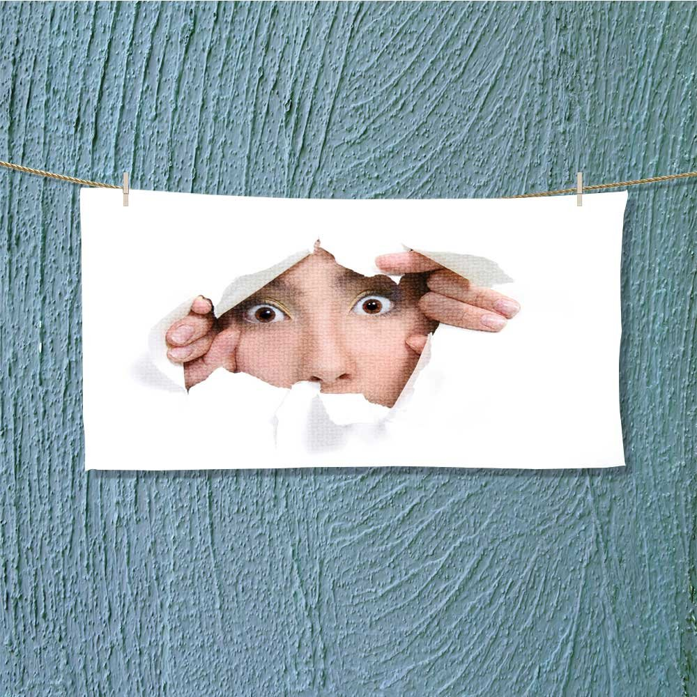travel towel young girl peeping through hole in white paper Luxury Hotel & Spa Towel L27.5 x W13.8 INCH