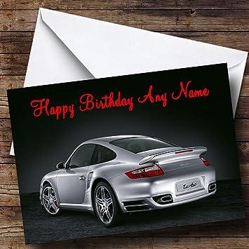 Personalizado plata Porsche Turbo Tarjeta de cumpleaños: Amazon.es: Oficina y papelería