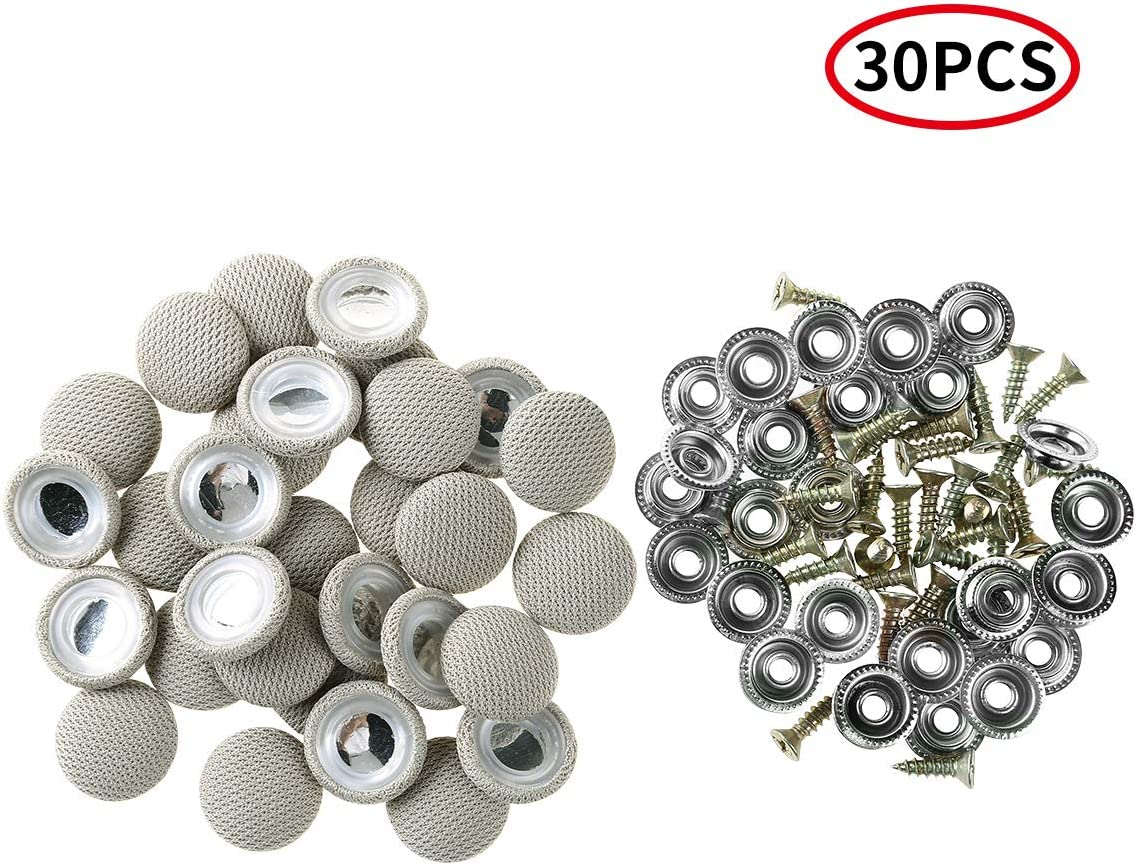 iixpin 30Pcs Car Proof Headliner Repair Button Universal Auto Car Proof Repair Rivets and Caps for Interior Ceiling Cloth Fixing Repair Buckle Beige Type A