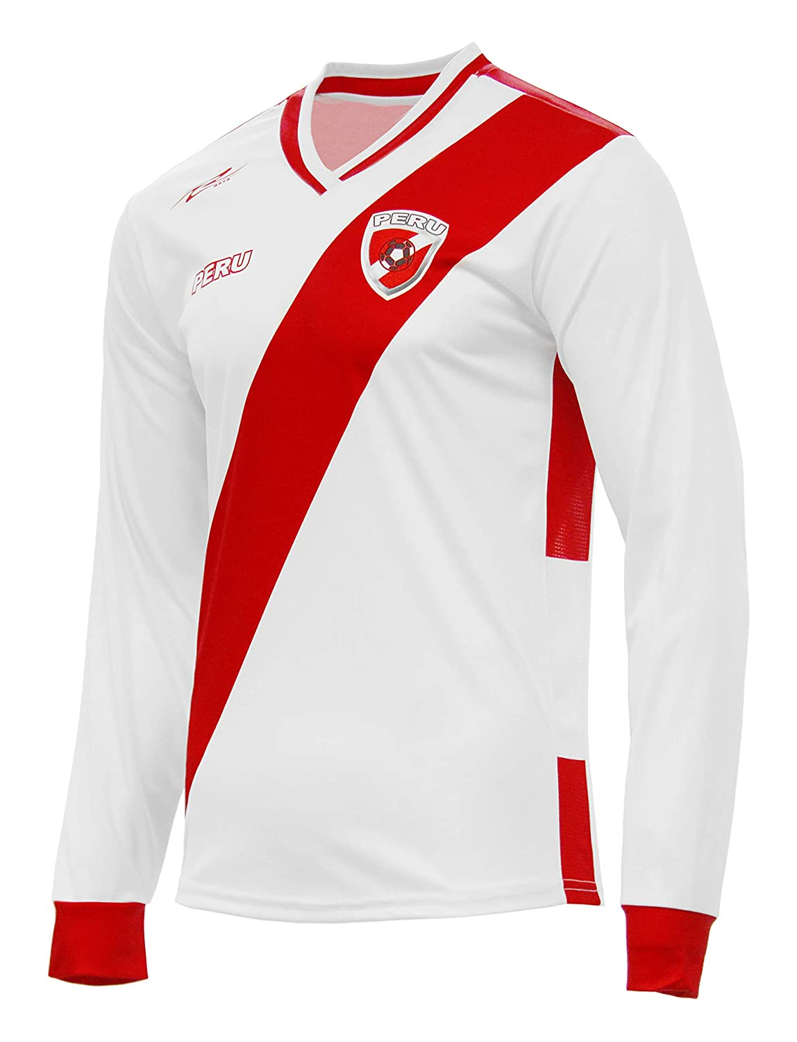 Amazon.com: Peru Jersey New Arza Soccer White for Men Long Sleeve 100% Polyester: Clothing