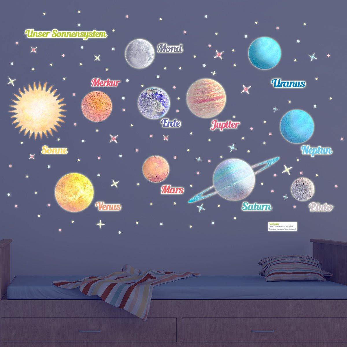 """WANDKINGS Leuchtaufkleber """"Planeten"""", XL Set, 390 Einzelne Wandsticker – Fluoreszierend & im Dunkeln Leuchtend"""