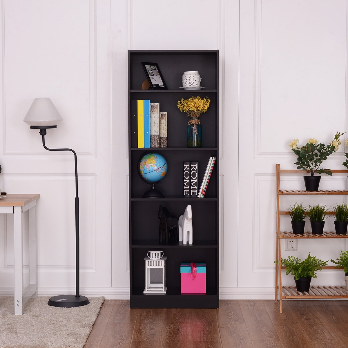 Tangkula 5-Shelf Bookcase, Wood 5-Tier Book Shelf Bookshelf, Modern Multipurpose Collection Display Storage Shelves, Tall Bookcase, Black