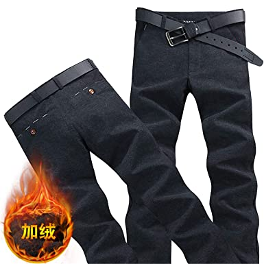 2c61b0ef Plus Velvet Thick Men's Trousers, Multi-Color Choice 28-38 Business Mens  Casual Pants Warm Slim at Amazon Men's Clothing store: