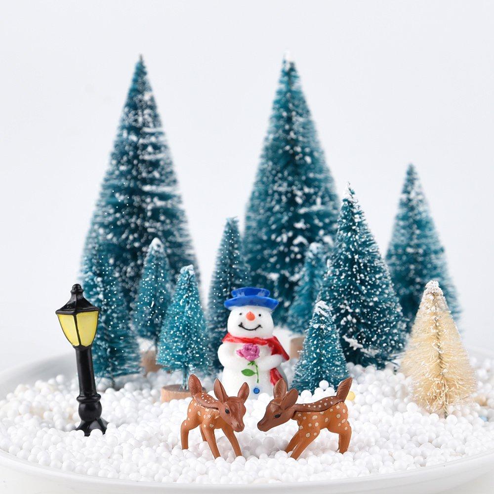 KUUQA 31pcs Mini Modelo Nieve Helada árboles Cepillo de Botella de plástico árboles Nieve del Invierno Adornos de Mesa Modelo de árboles de Modelos ...