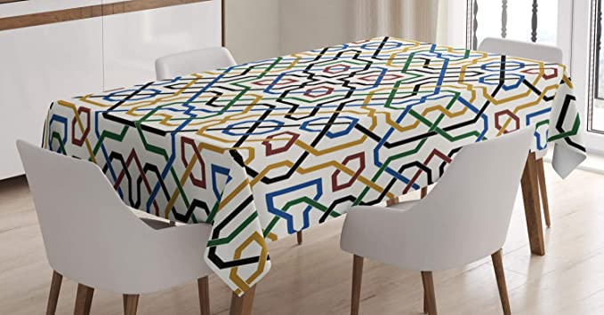 Imagen deABAKUHAUS marroquí Mantele, Marrakech Motif, Resistente al Agua Lavable Colores No Destiñen Personalizado, 140 x 200 cm, Multicolor