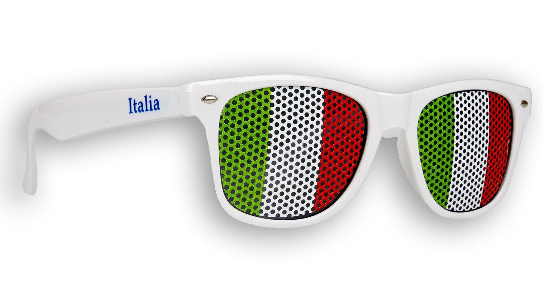 1 x Fanbrille Italien - Italia - Italy – Sonnenbrille – Brille Italia – Weiß - Fan Artikel Promo Trade