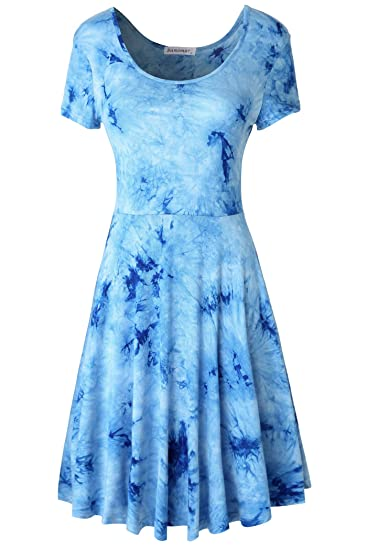 ad7c2b242b484 Samimar Sleeveless Swing Patchwork Party Summer Dresses for Women Blue Dress  1xl at Amazon Women's Clothing store: