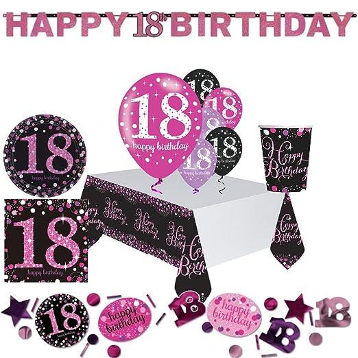 Party Set para 18 cumpleaños en rosa negro con Glitter, 36 ...