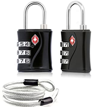 2 x TSA Candado Combinacion Seguridad Maleta Equipaje Taquilla Candados Viaje Taquilla Lock eeuu con Cable de Bloqueo 100 cm (Negro): Amazon.es: Equipaje