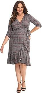 product image for Kiyonna Women's Plus Size Flirty Flounce Wrap Dress