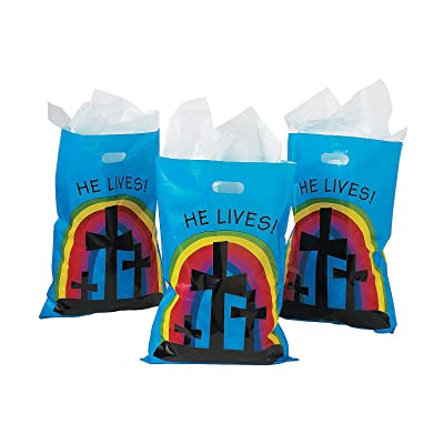 He Lives Inspirational Goody Bags (50 pack) Religious Easter Party Supplies: Toys & Games