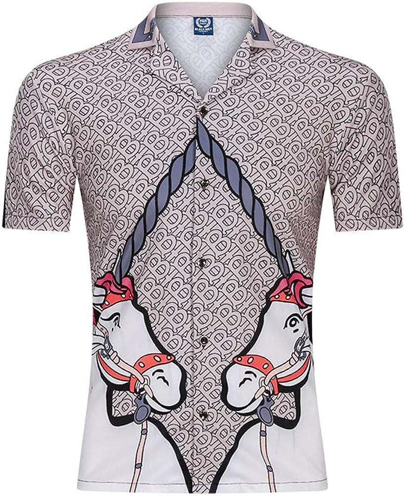 Camisas de Hombre Camisa Casual de Manga Corta Patrón de Leopardo Ocio Top Solapa Botón Completo Ropa de Playa Inicio Camisas Casuales de Vacaciones
