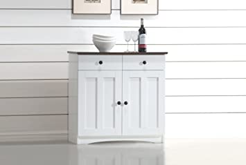 Wholesale Interiors Lauren Two Tone Buffet Kitchen Cabinet With Two Doors And Two Drawers
