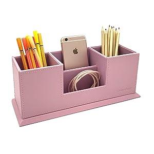 UnionBasic 4 Compartment Desk Organizer - Dual Pen Holder - Card/Pen/Pencil/Mobile Phone Office Supplies Holder (Pink)