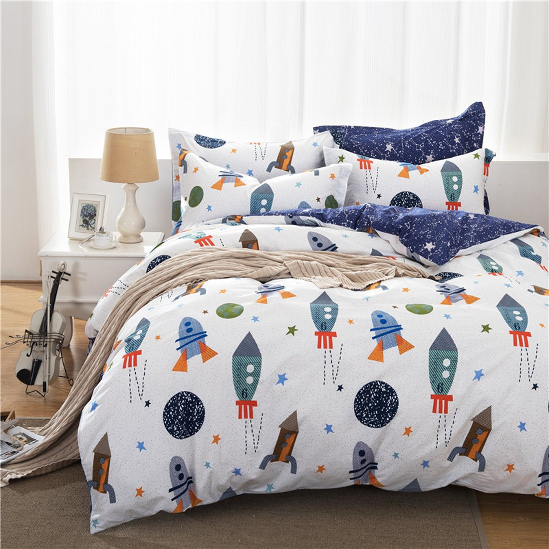 JIBUTENG Home Textiles Cotton Universe Airship Duvet Cover Set,Space Adventure Beding Set ,Blue Sheet Set Boys Full Size 4Pcs (Full, Flat sheet)
