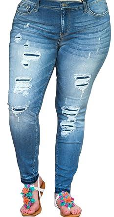 8a50b5c44bc Judy Blue Women s Plus Distressed Ankle Skinny Jean 3X Denim at ...