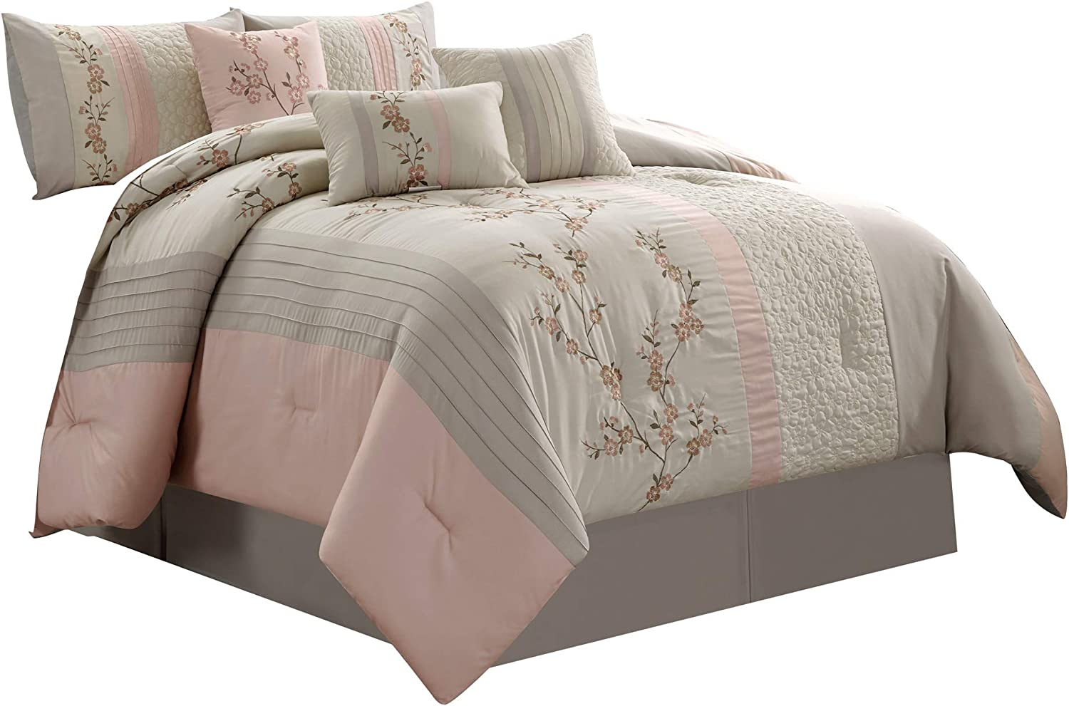 Chezmoi Collection Linnea 7-Piece Luxury Cherry Blossom Floral Embroidery Bedding Comforter Set, Queen, Blush/Neutral/Light Taupe