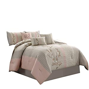 Chezmoi Collection Linnea 6-Piece Luxury Cherry Blossom Floral Embroidery Bedding Comforter Set, Twin, Blush/Neutral/Light Taupe