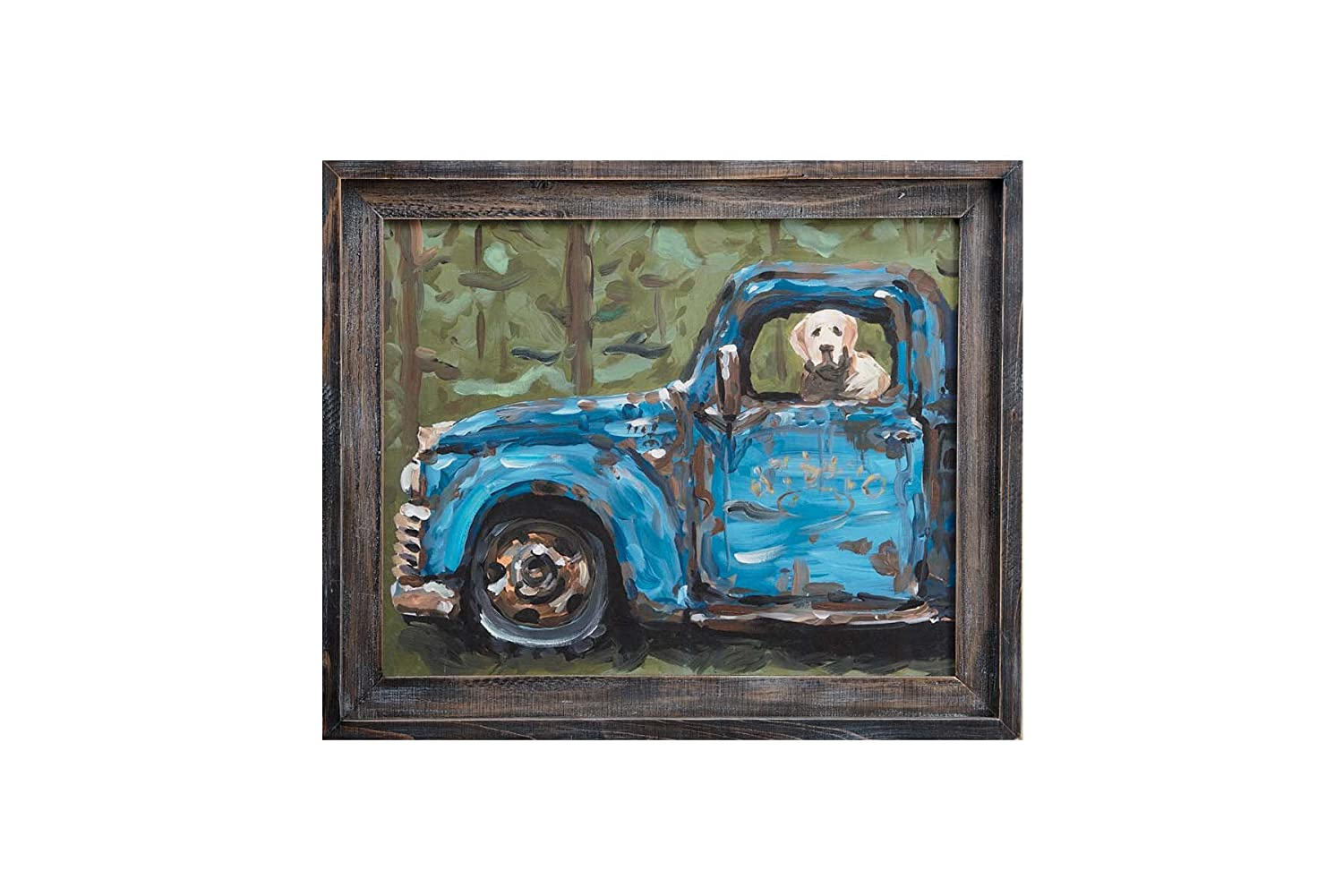 Glory Haus Dog in Blue Truck Framed Canvas Multicolor