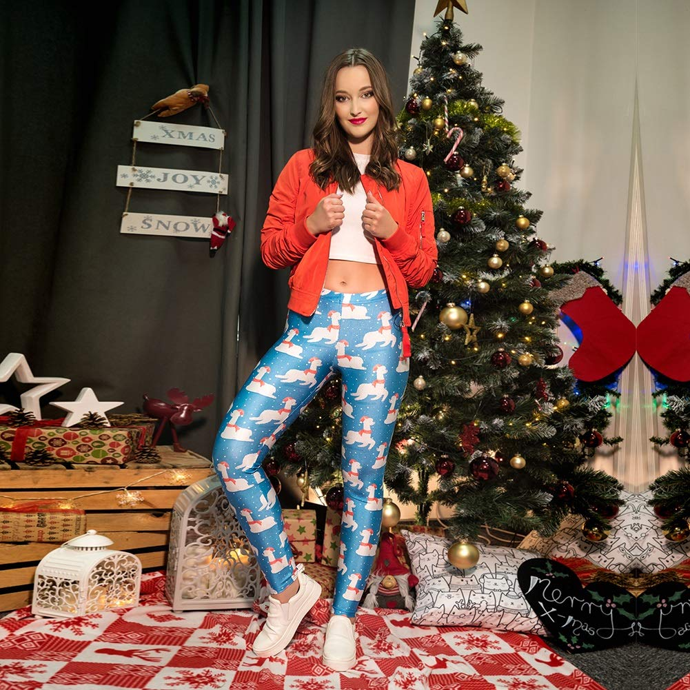 YaXuan De Las Mujeres Moda elástica 3D imprimió el Entrenamiento de Yoga de Estiramiento de Las Polainas Pantalones con Dibujos de Navidad de Alta Subida ...