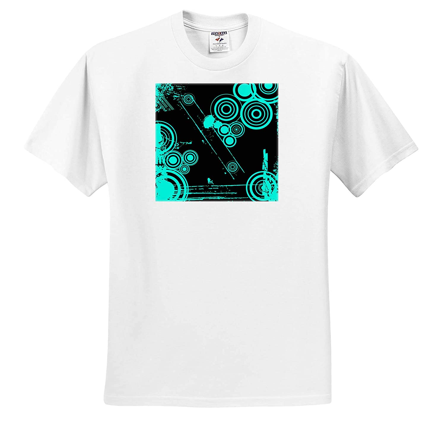 3dRose Russ Billington Designs T-Shirts Mod Retro Distressed Circles in Turquoise and Black