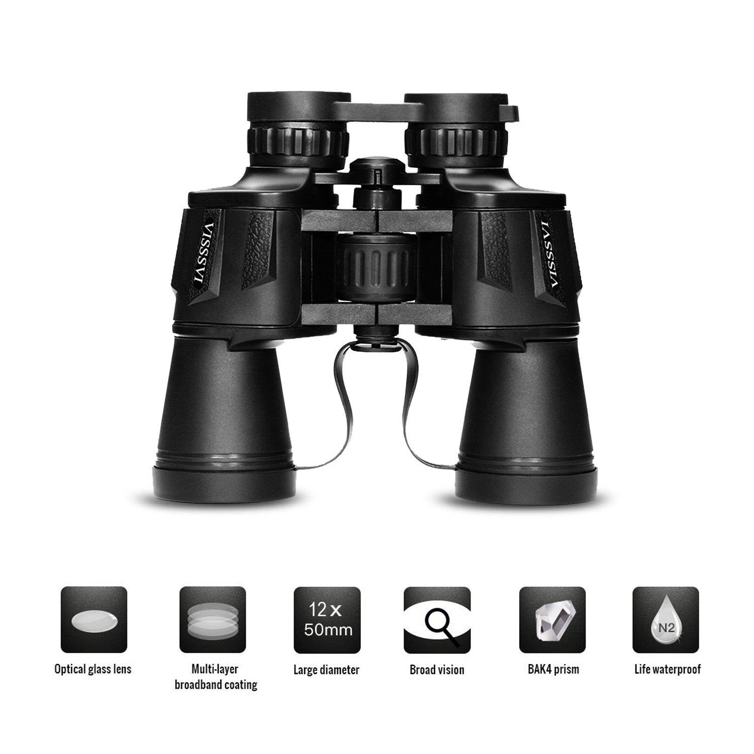 VISSSVI 12x50 Zoom Binoculars Compact Folding Durable for Professional Traveler Wide Field of View, More Clear Great for Camping, Hunting, Travelling, Concert, Surveillance Carrying case Strap