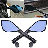 TUINCYN 8MM 10MM Motorcycle Rearview Side Mirrors Clockwise Threaded Bolts Motorbike Irregular Blue Lense Black Shell Motor Mirror(1 Pair).