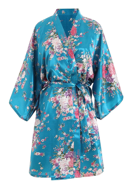 Womens Dressing Gown Kimono Silky Satin Glitter Cherry Blossoms Bridal Party Bathrobe YAOMEI Bride Bridesmaid Robes Morning of Wedding Robes S-2XL