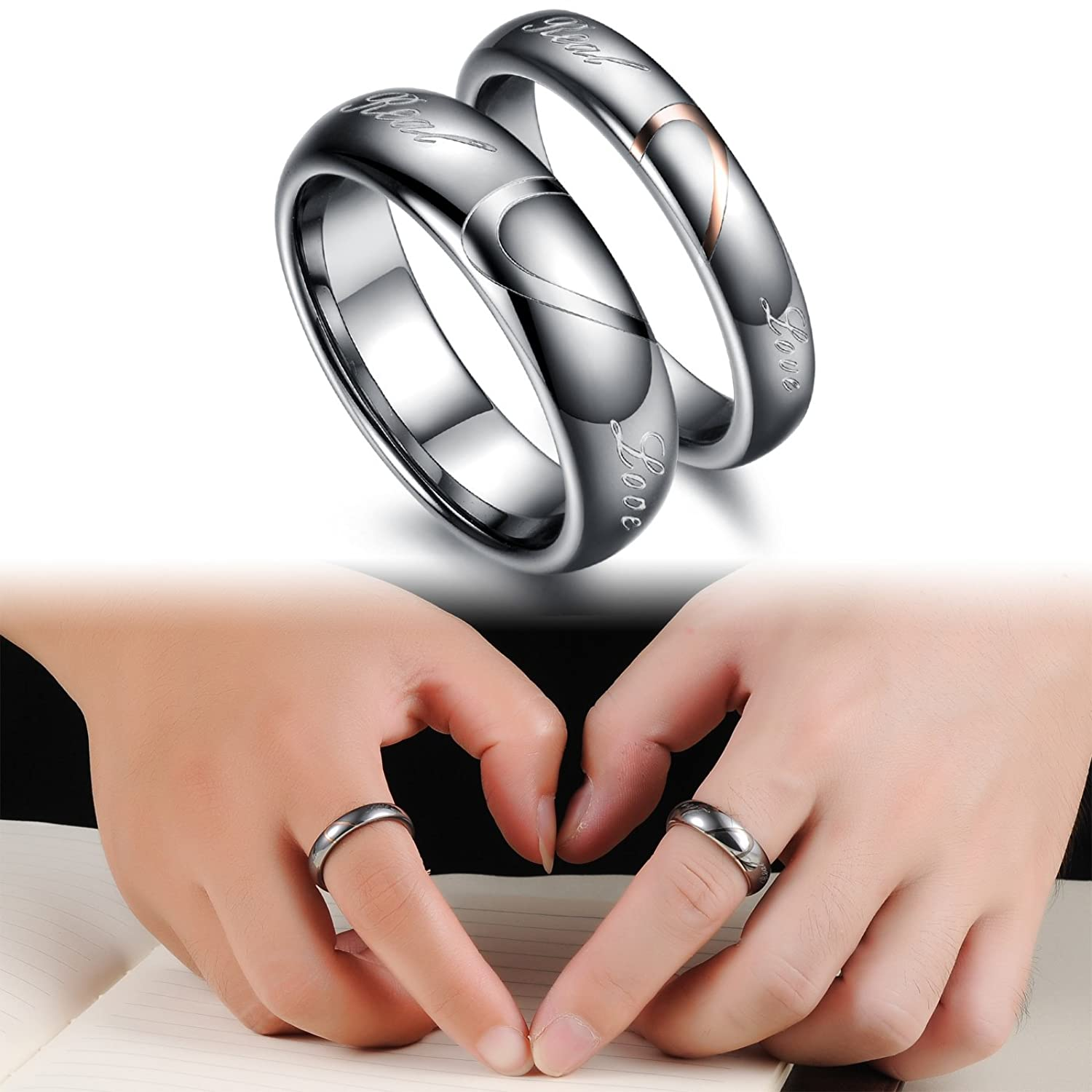products for beydodo az wedding engraved couple rings unisexs cz stainless steel bands diamond silver personalized