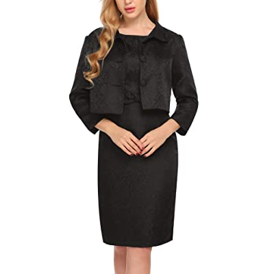ACEVOG Women's Two Pieces Business 3/4 Sleeve Wear to Work Party Bodycon Suit Dress: Clothing