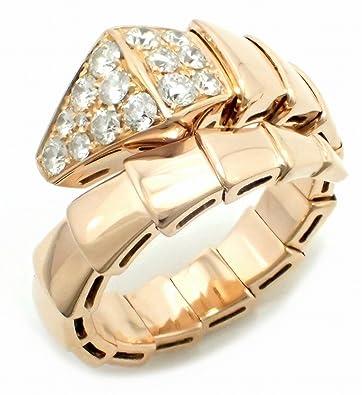 910c7913ddb0 [ブルガリ] BVLGARI セルペンティ スネーク リング 指輪 ピンクゴールド K18PG 750 PG パヴェダイヤ ダイヤモンド