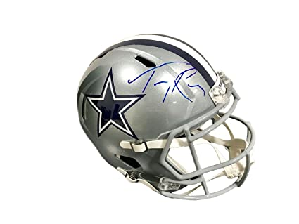 brand new b03ac 9685a Amazon.com: Tony Romo Autographed Helmet - Full Size Speed ...